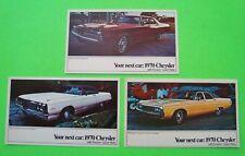3 Diff 1970 CHRYSLER Dealer / Factory Postcards CHRYSLER 300 New Yorker NEWPORT