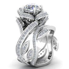 1.3CT White Topaz 925 Silver Lotus Flower Vtg Prom Ring Set 2pcs Gemstone Size11