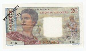Tahiti 20 Francs 1963 SPECIMEN №0173 Papeete P# 21c UNC (e260)