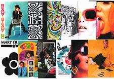 """12 GIANT 7""""x 5""""  POSTCARDS. Mary Quant, Biba, Vespa, Twiggy, mod, pop-art, 60's."""