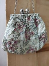 Accessorize Green & Purple Floral Sequin Detailed Small Bag / Purse