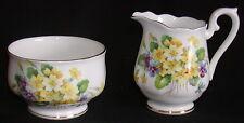 Royal Albert England Porcelain Sugar and Creamer-Yellow & Purple flowers