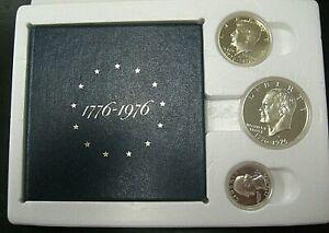 1976 US BICENTENNIAL SILVER PROOF 3 COIN SET
