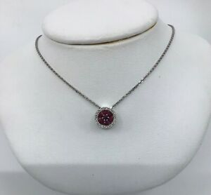 14k White Gold Ruby & Diamond Pendant Necklace