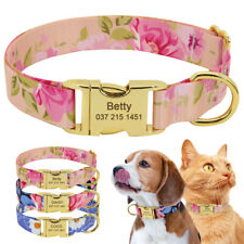 Floral Nylon Personalised Dog Cat Collars Custom Pet Name Tags Engraved Free S-L
