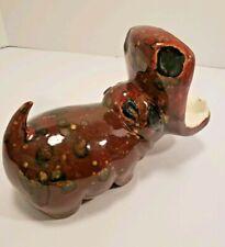 Vintage 70s Ceramic brown Black Drip Glaze Hippo ~ Soap / Sponge Holder?