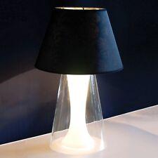 SEMBIANCE TABLE LAMP GLASS BASE DOUBLE LIGHT & BLACK SHADE STYLISH LIVING ROOM