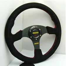 "13.6"" Rally Steering Wheel Racing Suede Nubuck Leather for M0M* OMP SPARC boss"
