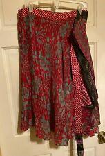 Earthbound Trading Co. Wrap Skirt Medium Layered & Reversible 100% Silk~Classic