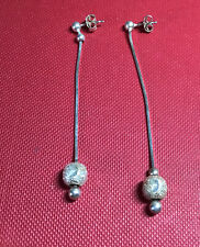 Vintage 935 Silver Long Drop Strand Statement Earrings With Detailing