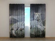 Curtain with White Tiger on the Rock Print Wellmira Living Room Soft Fabric