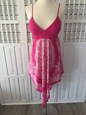 Backstage women's large short pink dress, built in bra, V hem, sleeveless h24