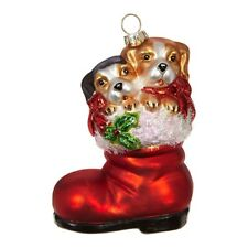Dogs in Boot Glass Ornament