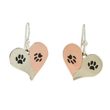 Far Fetched DOUBLE PAW Heart EARRINGS Silver Copper Dangle Dog Cat - Gift Box