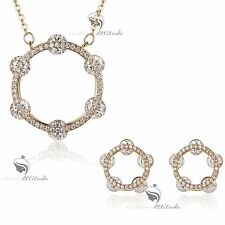 18k yellow gold gf made withSWAROVSKI crystal round circle earrings necklace set