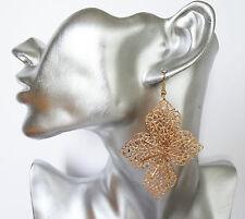Gorgeous Gold Filigree Leaf Design Dangle Earrings 8 cms Long DROP on Gold Tone