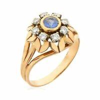 Bague ancienne or jaune 18k diamants saphir ring vintage