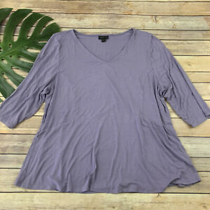 J Jill Wearever Collection Tunic Top Size XL Pastel Purple 3/4 Sleeve Stretch