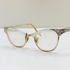 New listing Art-Craft 4-1/4-51/2 Alum Usa Jewel Ornate Cat Eyeglass Frame 1/10 12K Gf Silver