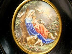 Antique Hand Painted Portrait Miniature of Virgin Mary Infant Jesus Framed