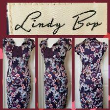 Lindy Bop VINTAGE 50 s PIN UP Audrey Polkadot Marron Moka Robe Swing 10-18 Neuf avec étiquettes