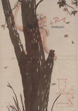 """""""PIN-UP et l'ARBRE"""" Affiche originale entoilée Offset Roger BRARD 50-51 34x51cm"""