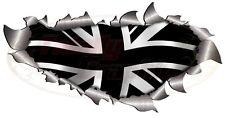 Large Single Metal Rip Open Union Jack Black flag Sticker 4X4 Car Truck Van