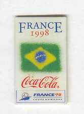 1998 WORLD CUP COCA COLA BRAZIL FLAG PIN FOR COMPETING COUNTRIES NEW OLD STOCK