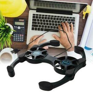 USB Laptop Cooler Cooling Pad Stand Adjustable Fan For PC Black 2 Notebook J7Q7