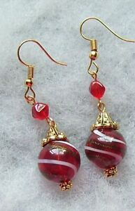 RED WITH WHITE AND GOLD SWIRLS BLOWN GLASS EARRINGS