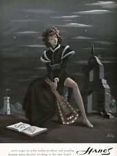 Bobri Hanes Nylon Stockings SPANISH MISSION Female Lute Player 1947 Print Ad