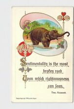 ANTIQUE POSTCARD ELEPHANT ART NOUVEAU THEO. ROOSEVELT QUOTE JOHN GEYER EMBOSSED