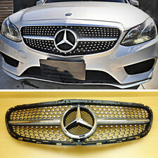 Diamond Gloss Black Front Grille Grill For Mercedes Benz W212 Sedan 2014-2016