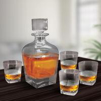 Whiskey Decanter Set with 4 Glasses - 5 pcs Brandy Decanter Set