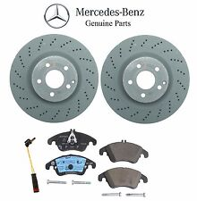 For Mercedes Front Vented Drilled Disc Brake Rotors & Pads+Sensors Kit Genuine