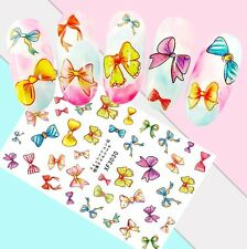 Nail Art Stickers Transfers 3D Self Adhesive Multicoloured Bows (XF3030)