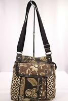 """""""Fossil"""" / Multicolored Black Brown Tan Floral Cloth Crossbody Purse /Pre-Owned"""