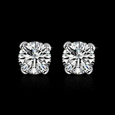 Wholesale  925 Sterling Silver Filled 8mm Cubic Zirconia Crystal Stud Earrings