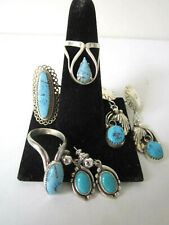 Vintage Turquoise & Sterling Silver Earrings & Rings, Lot of 5