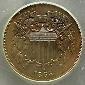 1864 2 Cent Piece 2C Large Motto Certified AU50 - Great Tone