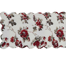 Table Runner Quilted Reversable Red Off White Grey 33x92cm 13x36""