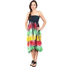 Women's Tie-dye Layered-ruffles Strapless Dress-rasta-11265