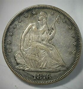 1876-S USA Seated Liberty Silver Half Dollar in High Grade as shown  (081)