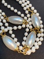"Vintage white imitation pearl beaded long necklace 36"" Inches Nice Luster"