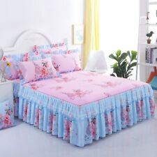 Floral Fitted Sheet Cover Lace Bedspread Bedroom Bed Cover Skirt Decoration Set