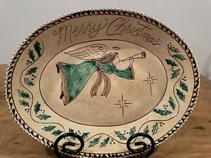 Turtlecreek Pottery Merry Christmas Platter Signed Christopher Woods 2016