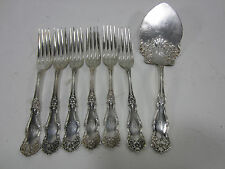 7 Pc. Wm. Rogers & Son Silverplated Forks & Serving Piece- 1908 Arbutus- U Mono