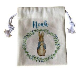 Personalised Peter rabbit soft drawstring bag ~ Ivory bridesmaid/wedding/gift