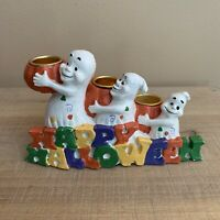 Vintage Happy Halloween Ghosts Ceramic Candle Holder