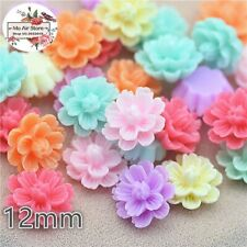 50pcs 12mm Mixed Color flower daisy Hole No decoration jewelry/phone DIY b49